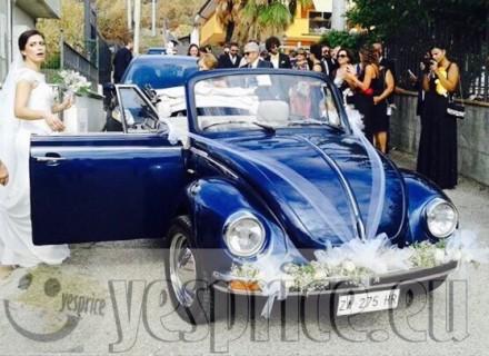 RUGGENTI e BLASONATE LUXURY RENT SERVIZIO NOLEGGIO CERIMONIA CON AUTISTA VW MAGGIOLINO CABRIO VINTAGE BLU CON AUTISTA  BASILICATA da €400 chiedi info clicca qui