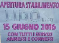 15 GIUGNO 2016 apertura ufficiale del Lido Lido