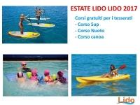 """CORSI GRATUITI 2017  SUP - CANOA - NUOTO  ESTATE 2017  - PER I TESSERATI  LIDO """"LIDO"""""""