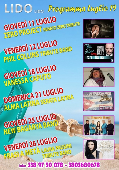eventi estate 2019 al Lido Lido