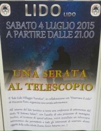 ESTATE 2015 Una serata al telescopio AL LIDO VILLAGGIO TURISTICO BALNEARE
