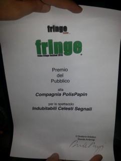 Vincitore del Premio del Pubblico al Roma Fringe Festival 2015