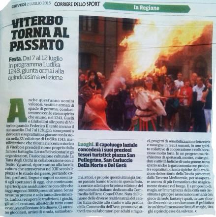 Articolo uscito sul Corriere dello Sport per la XV° Edizione di Ludika
