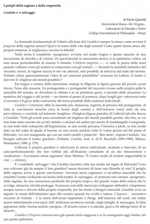 Presentazione dello Spettacolo da parte del Prof. Paolo Quintili