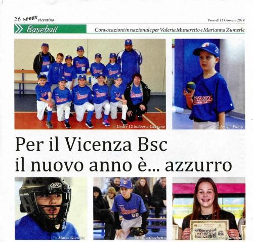 Per il Vicenza Bsc  il nuovo anno è ... azzurro