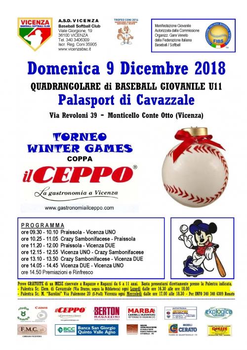 Domenica 9 Dicembre 2018  QUADRANGOLARE di BASEBALL GIOVANILE U11
