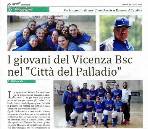 """I giovani del Vicenza Bsc nel """"Città del Palladio"""""""