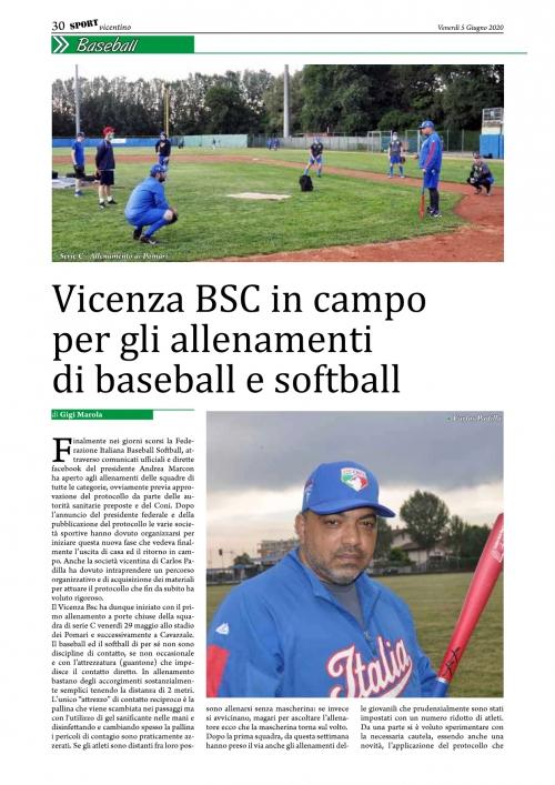 Vicenza BSC in campo per gli allenamenti di baseball e softball
