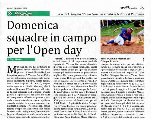 Domenica  squadre in campo per l'Open day
