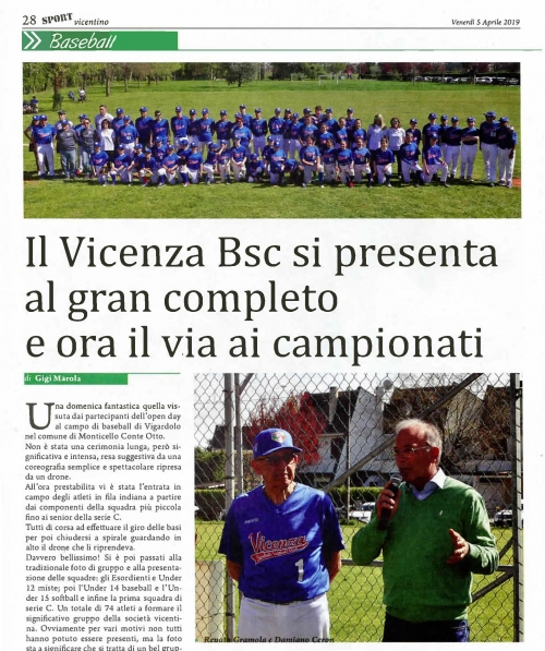 Il Vicenza Bsc si presenta al gran completo  e ora il via ai campionati