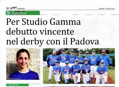 Per Studio Gamma  debutto vincente  nel derby con il Padova.