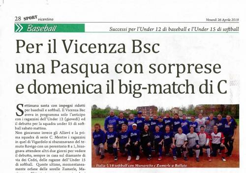Per il Vicenza Bsc  una Pasqua con sorprese e domenica il big-match di C
