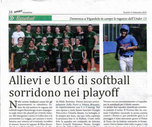 Allievi e U 16 di softball sorridono nei playoff