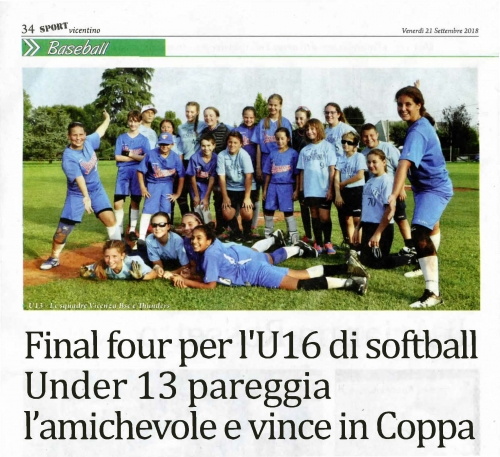 Final four per l'U16 di softball Under 13 pareggia l'amichevole e vince iri c·oppa