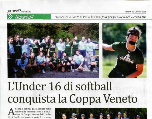 L'Under 16 di softball  conquista la Coppa Veneto