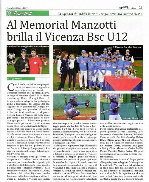 Al Memoria! Manzotti brilla il Vicenza Bsc U12