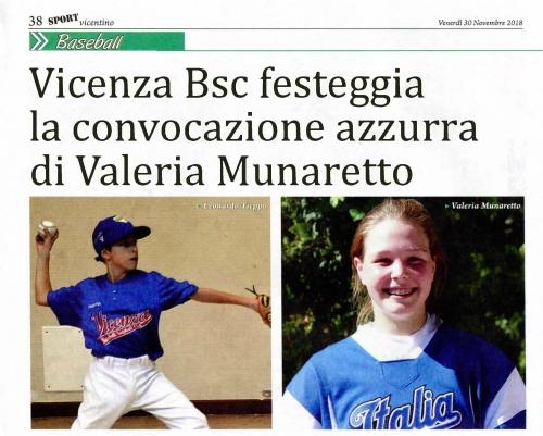 Vicenza Bsc festeggia  la convocazione azzurra di Valeria Munaretto