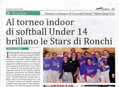 Al torneo indoor  di Softball Under 14 brillano le Stars di Ronchi