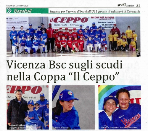 """Vicenza Bsc sugli scudi nella Coppa """"Il Ceppo''"""