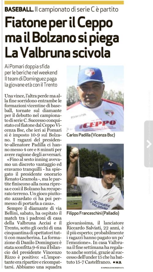 Riscontro stampa da IL GIORNALE DI VICENZA 20/07/2020