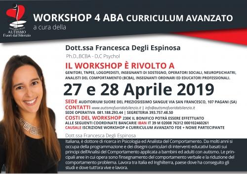 WORKSHOP 4 ABA CURRICULUM AVANZATO a cura della Dottoressa Francesca Degli Espinosa