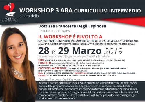 WORKSHOP 3 ABA CURRICULUM INTERMEDIO a cura della Dottoressa Francesca Degli Espinosa