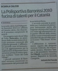Polisportiva Baronissi, fucina di talenti per il Catania Calcio