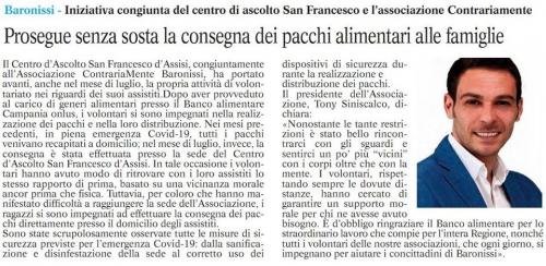 Il Centro d'Ascolto San Francesco D'assisi, congiuntamente all'Associazione ContrariaMente Baronissi, ha portato avanti, anche nel mese di luglio, la propria attività di volontariato nei riguardi dei suoi assistiti.