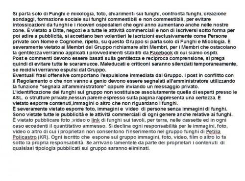 Regolamento gruppo funghi di Petilia Policastro (KR) su Facebook