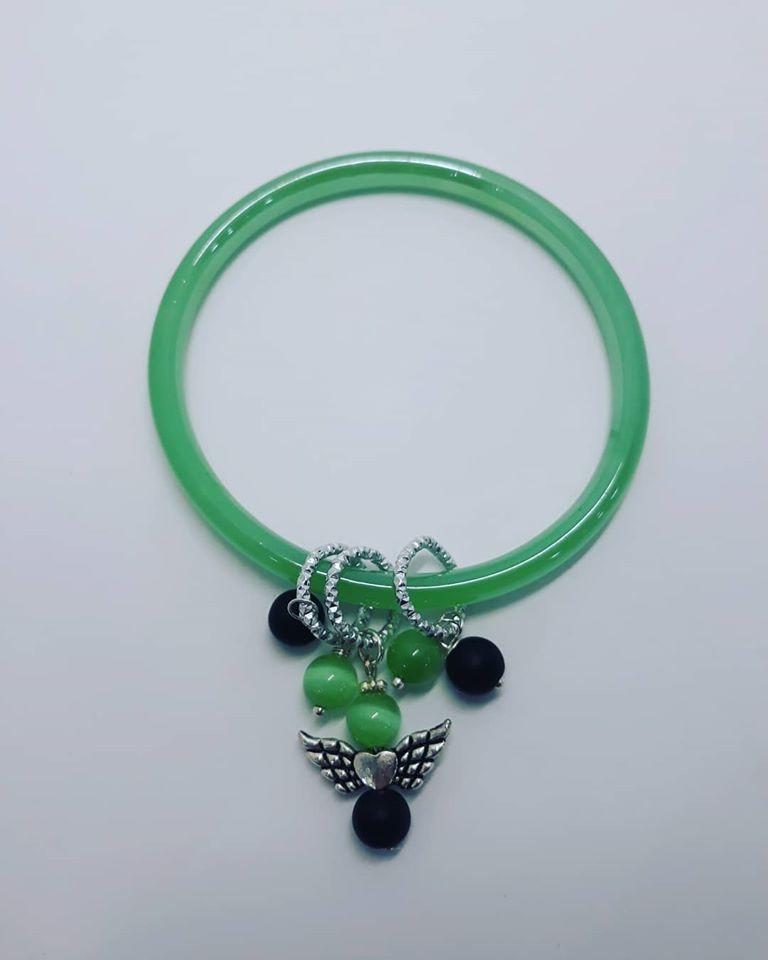 bracciale in vetro verde