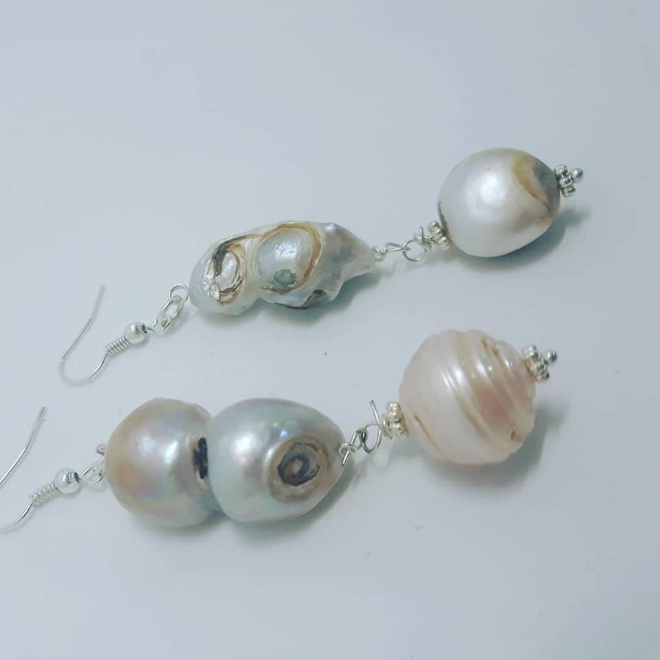 orecchini perle di fiume naturali
