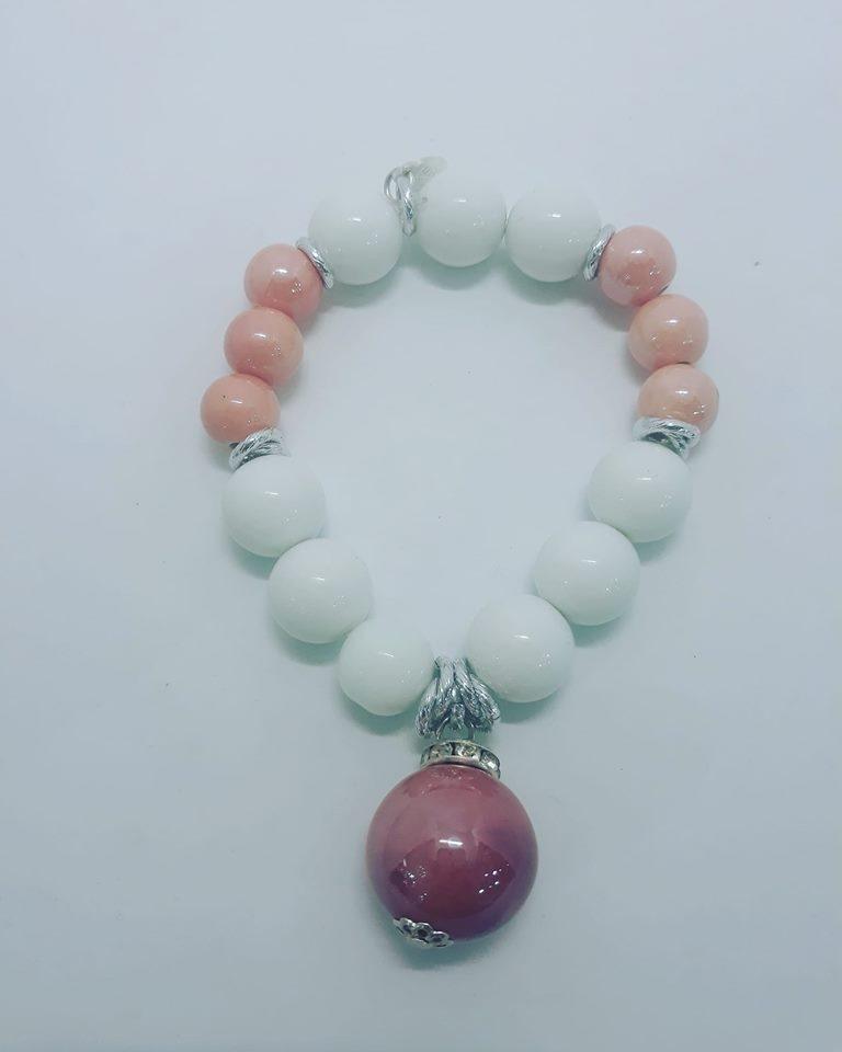 bracciale ceramica bianco e rosa