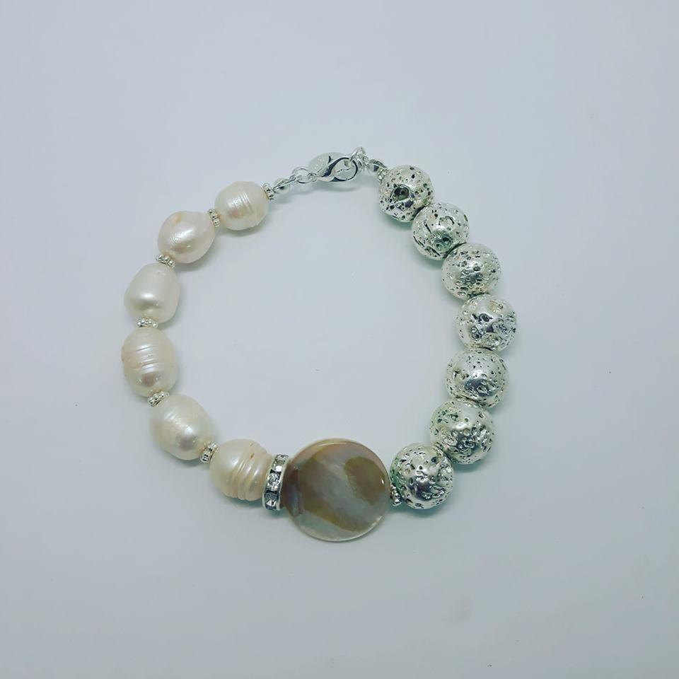 bracciale di perle di fiume naturali