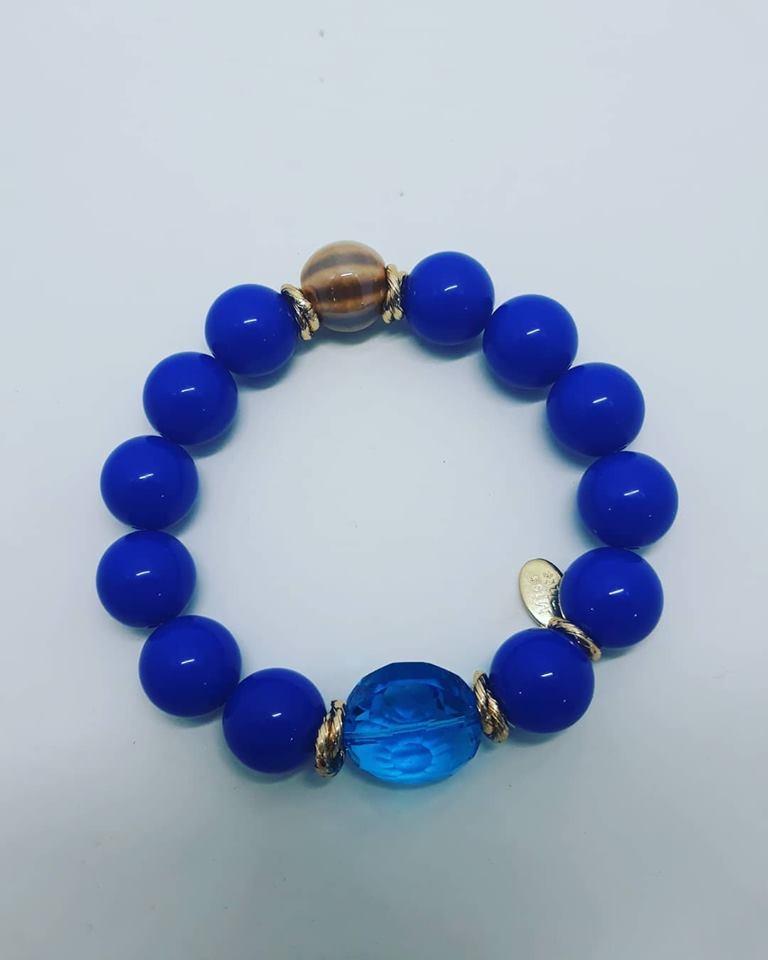 bracciale blu e beige