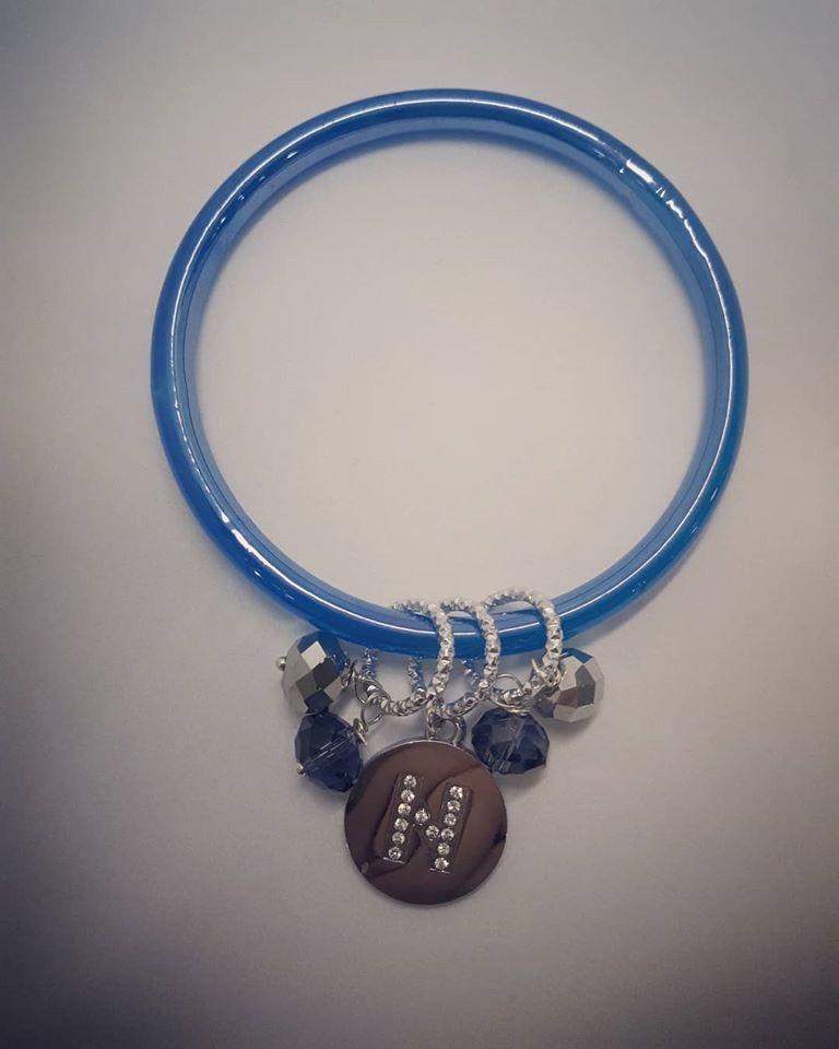 bracciale in vetro azzurro